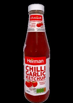 herman tomato ketchup chilli garlic -glass - هيرمان كاتشب340جم×24حار بالثوم