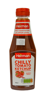 herman chilly tomato ketchup -pet - هيرمان كاتشب340جم×24حار بلاستيك