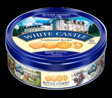 White CASTLE BUTTER COOKIES  454g - تورتو454جم رويال وايت كاسل بتر كوكيز*12علبه صفيح