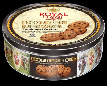 ROYAL CLASSIC BUTTER COOKIES & CHOCOLATE CHIPS 454g-تورتو454جم رويال كلاسيك شيكولاته بتر كوكيز*12علبه صفيح