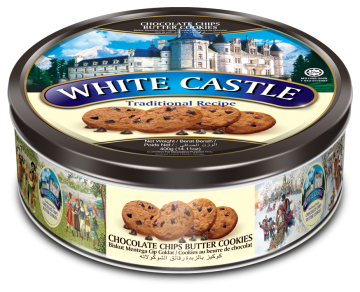 White Castle Chocolate Chips Butter Cookies 400g- وايت كاسل كوكيز بالشوكولاتة صفيح